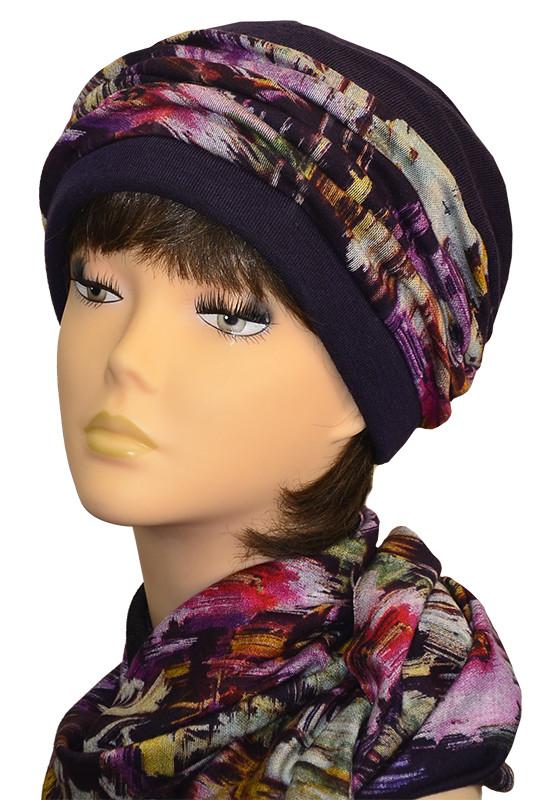 Набор шапка и шарф-хомут Элит темный фиолет