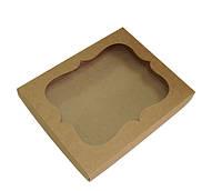 Коробка из крафт 3 картона с окошком 250х200х30 мм.