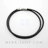 Браслет из плетёной кожи с серебром (2,5 мм) чёрный