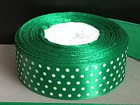 Лента атласная 936 зелёная в белый горошек 25 мм