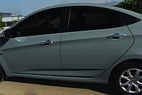 Hyundai Accent Solaris 2011-2017 гг. Накладки на ручки (4 шт, нерж) Carmos - Турецкая сталь
