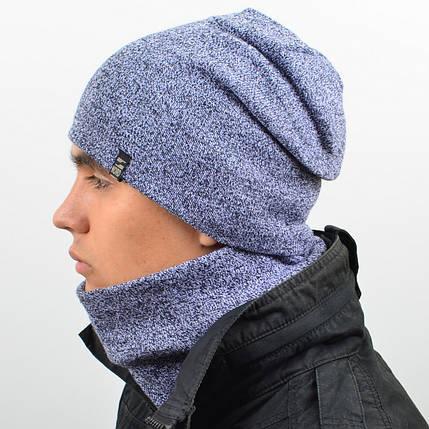 Комплект шапка и снуд утеплённая мел. св. серый, фото 2