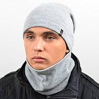 Комплект шапка и снуд утеплённая мел. белый серый