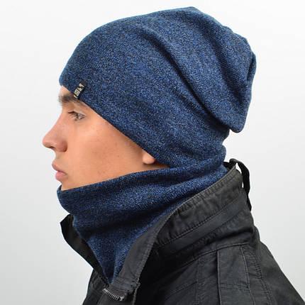 Комплект шапка и снуд утеплённая мел. джинс, фото 2