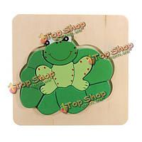 Собранный 3д лягушка деревянная головоломка дошкольного образования игрушки