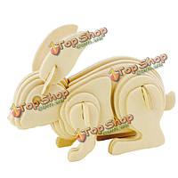 Кролик 3D деревянные пазлы из фанеры лобзиком ремесло строительная модель