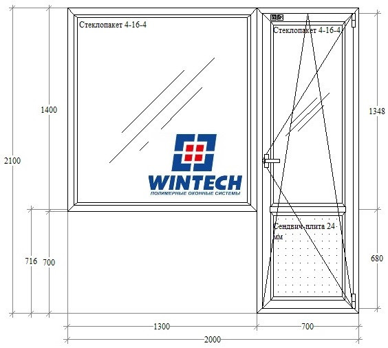 5-этажка Хрущевка МП Балконный блок (ПВХ) 2000х2100 Wintech 624, 4-х камерный