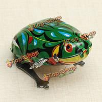 Смешно ветра до лягушка прыгает игрушки заводной пружины олова игрушки с ключом