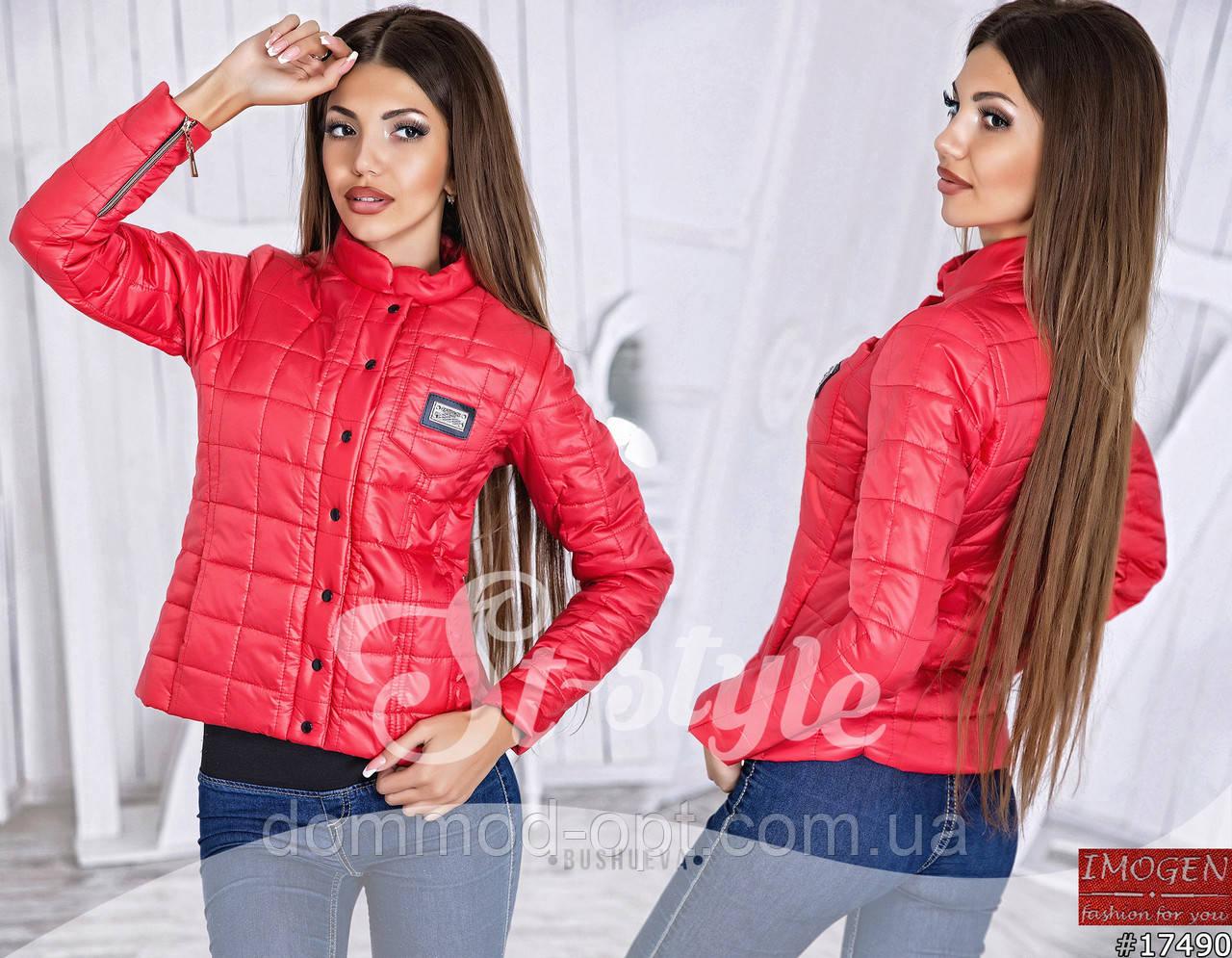 192bc2cc61f Женская стеганая куртка на кнопках 792  красная купить в Украине по ...