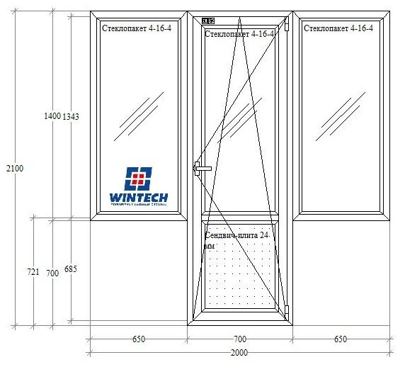 5-этажка Хрущевка МП Балконный блок чебурашка (ПВХ) 2000х2100 Wintech 624, 4-х камерный