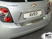 Chevrolet Aveo T300 2011+ гг. Накладка на задний бампер с загибом Натанико (нерж.) Только на хетчбек