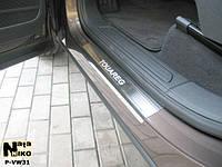 Volkswagen Touareg 2010+ гг. Накладки на пороги Натанико (4 шт, нерж) Premium - лента 3М, 0.8мм