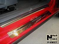 Volkswagen Jetta 2006-2011 гг. Накладки на пороги Nataniko (8 шт, нерж.) Premium - лента 3М, 0.8мм