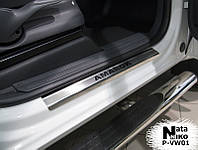 Volkswagen Amarok Накладки на пороги Натанико (4 шт, нерж.) Premium - лента 3М, 0.8мм