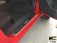 Toyota Yaris 2006-2012 гг. Накладки на пороги Натанико (4 шт, нерж.) Premium - лента 3М, 0.8мм