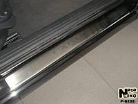Renault Laguna 2007+ гг. Накладки на пороги Натанико (4 шт, нерж.) Premium - лента 3М, 0.8мм