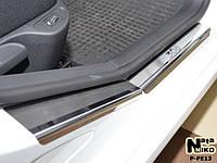 Peugeot 308 2007-2013 гг. Накладки на пороги Натанико (6 шт, нерж.) Premium - лента 3М, 0.8мм