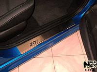 Peugeot 207 2006+ гг. Накладки на пороги Натанико (4 шт, нерж.) Premium - лента 3М, 0.8мм