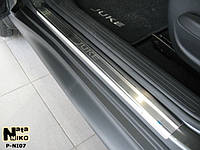 Nissan Juke 2010+ гг. Накладки на пороги Натанико (4 шт, нерж.) Premium - лента 3М, 0.8мм