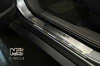Mitsubishi Outlander 2013+ и 2015+ гг. Накладки на пороги Натанико (4 шт, нерж.) Premium - лента 3М, 0.8мм