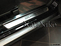 Mitsubishi Outlander 2001-2008 гг. Накладки на пороги Натанико премиум (4 шт, нерж.)