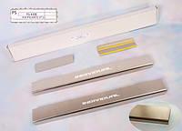 Kia Picanto 2011+ гг. Накладки на пороги Натанико стандарт (4 шт, нерж.)