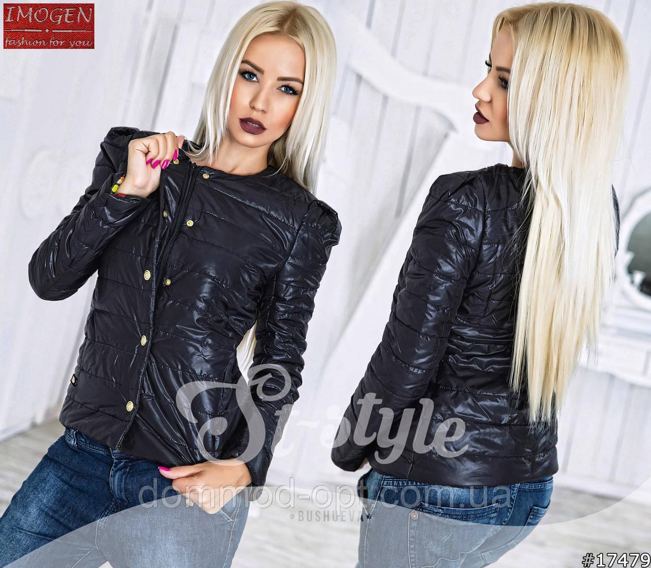 6ddb98fd5f0 Женская куртка на кнопках Череп 677   черная - Дом Мод в Одессе
