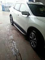 Nissan Qashqai 2014+ гг. Боковые площадки BlackLine (2 шт, алюминий)