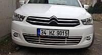 Citroen C-Elysee 2012+ гг. Решетка в бампер (нерж)