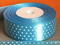 Лента атласная 945-9 голубая  в белый горошек 25  мм   , фото 1