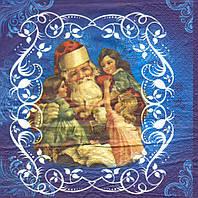 Редкая салфетка для декупажа Дед Мороз и дети 6038