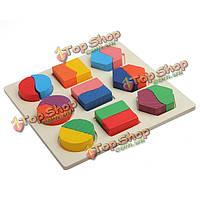 Деревянные геометрии блок головоломки Монтессори раннего обучения образовательные игрушки