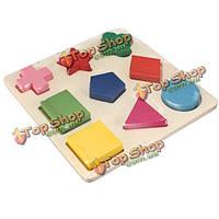 9 деревянных фигур плиты красочная игрушка строительные блоки образовательные кирпича