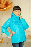 Демисезонные куртки для девочек со съемным капюшоном и манжетами  Миледи голубая