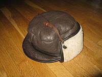 Шапка ушанка кожаная, размер 55-56 см