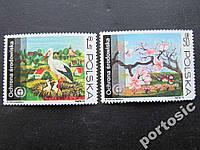 2 марки Польша 1973 охрана природы сакура аист MNH