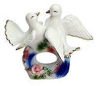 Голуби пара белые на кольце фаянс