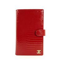 Кошелек женский кожаный, кредитница, тревеллер Chanel 9048 красный лаковый
