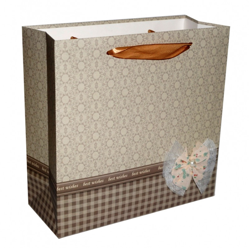 """Пакет подарочный """"Бантик"""" Бежевый"""