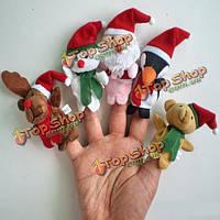 Рождественский подарок 5шт мультфильм кукольный палец мягкие игрушки