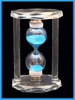 Песочные часы в стеклянном корпусе Синий песок