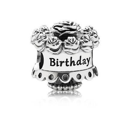 Серебряный шарм бусина подвеска Пандора С Днем рождения Pandora Happy Birthday