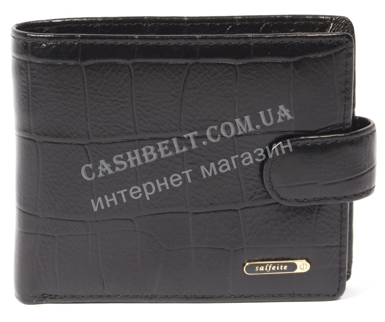 Чоловічий зручний гаманець з натуральної гладкої шкіри під крокодила SALFEITE art. 2173T-F16 чорний