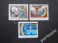 3 марки ГДР 1975 медицина офтальмология