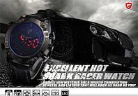 Мужские часы Shark LED Digital Black Leather, с лед экраном, фирменная упаковка