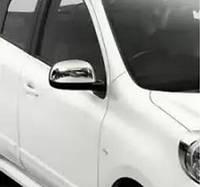 Nissan Note 2013+ гг. Накладки на зеркала (2 шт, нерж)