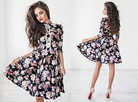 Платье Fit & flare с кружевными вставками и принтом 1028 (НИН55)