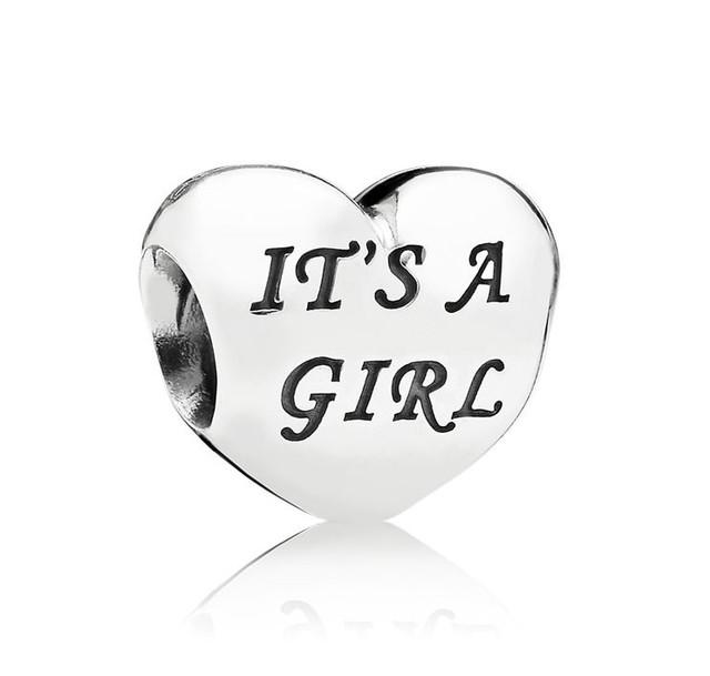 Серебряный шарм Сердце Это девочка