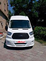 Ford Transit 2014+ гг. Накладка на передний бампер LED (под покраску)