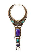 Колье ожерелье с ониксом и азуритами
